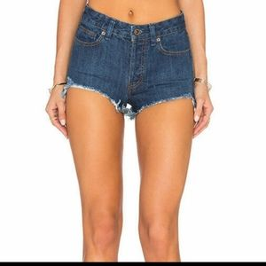 Free Peeple High Waist Blue Cut Off Denim Shorts